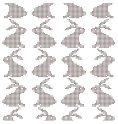 Seamless cross stitches rabbit pattern on white vector