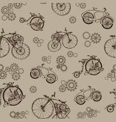 Seamless pattern steampunk with old bicycle and vector
