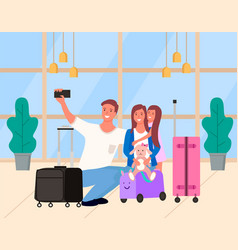 selfie parents with daughter in airport vector image