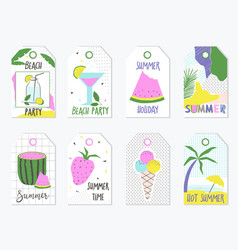 set summer gift tags and labels vector image