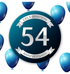 Silver number fifty four years anniversary vector
