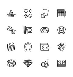 Simple icon set casino gambling and card games vector