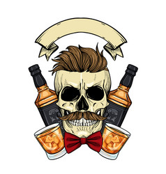 Sketch barman skull vector