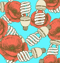 Sketch economic light bulb with poppy vector image