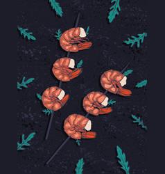 Sketch style grilled shrimps vector