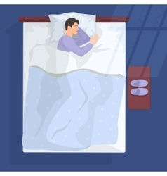 Sleeping man in bad at night near window vector image