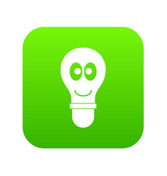 smiling light bulb with eyes icon digital green vector image