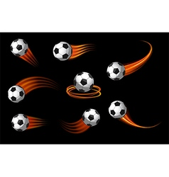 Soccer balls or football icon with fire motion vector