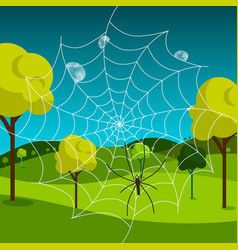 Spider web with dew and meadow on background vector