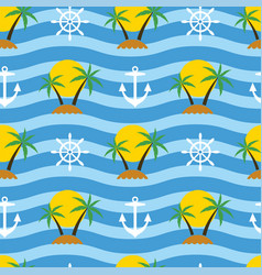 stylized seamless travel background with tropical vector image