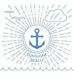 Summer beach made with outline lines vector