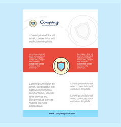 Template layout for protected sheild comany vector