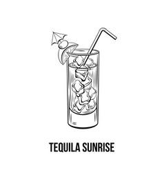 Tequila sunrise hand drawn vector