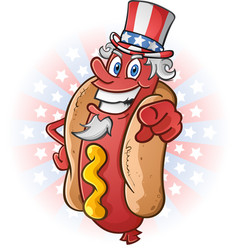 uncle sam hot dog cartoon on july fourth vector image