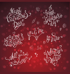 valentines day lettering set vector image