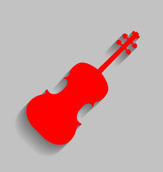 violine sign red icon with vector image
