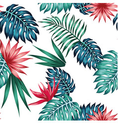 vivid tropical blue green leaves red flowers vector image