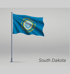 Waving flag south dakota - state united vector