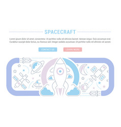 Website banner and landing page spacecraft vector