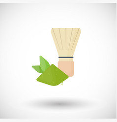 Whisk for matcha tea powder flat icon vector