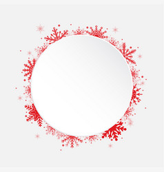 white circle snowflakes new year christmas frame vector image