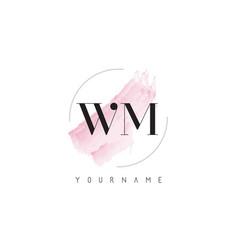 Wm w m watercolor letter logo design vector