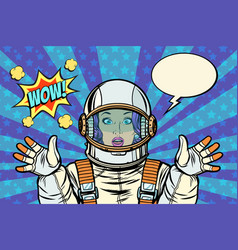 Wow pop art woman astronaut vector