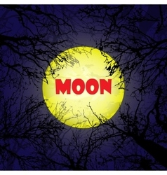 Yellow moon with dark trees vector