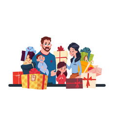 young family together with present boxes on white vector image