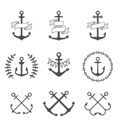 anchor icons and logos set vector image vector image