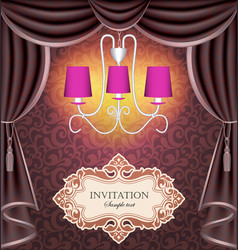 Background with curtains and chandelier vector