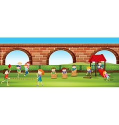 Children playing games in the park vector image vector image