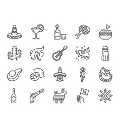 Mexican line icon set vector
