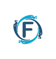Water clean service abbreviation letter f vector