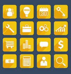 yellow business icons set vector image vector image