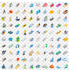 100 company icons set isometric 3d style vector