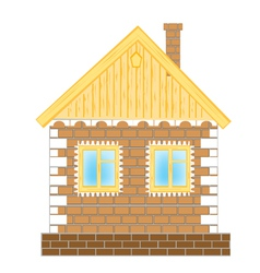 Brick house on white background vector image vector image