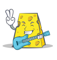 Cheese character cartoon style with guitar vector