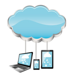 cloud storage connected with tech device set vector image vector image
