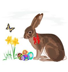Easter little bunny with daffodils and butterflies vector image vector image