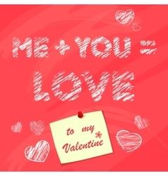 Happy valentines day desk with sticker chalk vector