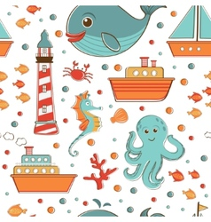 Marine seamless pattern with sea related items vector image