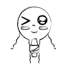 Figure kawaii cute funny bulb energy with arms vector