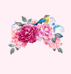 floral composition with bird vector image vector image