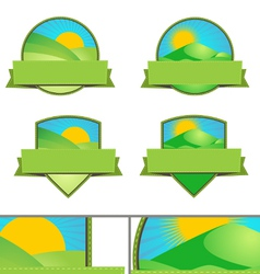 Green Farming Landscape Emblems vector image