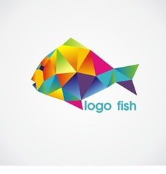 logo fish consist of colorful triangles vector image