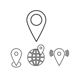 set of outline map pointers linear vector image vector image