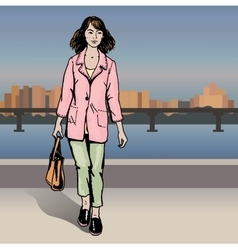Sexy fashion girl in sketch style on a city vector image