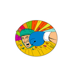 amateur boxer hit by glove punch oval drawing vector image