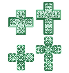 Celtic cross - set of traditional green designs vector image
